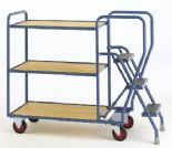 3 Step Fixed Plywood Shelve Trolley